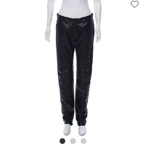 Acne leather pants with zip front